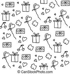 사랑, 상징, seamless, pattern., 행복하다, 연인의 것, day.