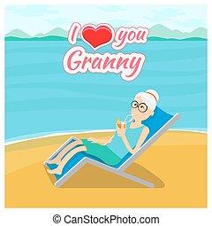 사랑, 조부모, 일, 배경., 벡터, 할머니, 우편, 당신, 카드