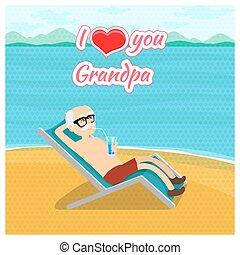 사랑, 조부모, concept., 일, 벡터, 할아버지, 포스터, 우편, 당신, 카드, 행복하다