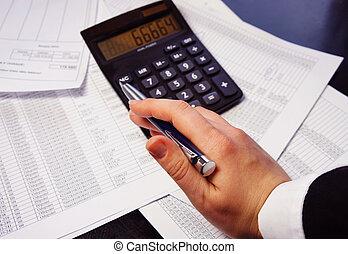 사무실, 테이블, 와, 계산기, 펜. 그리고, 회계, 문서
