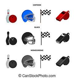 사발, 와..., 볼링 핀, 치고는, 볼링, 보호하는 것, 헬멧, 치고는, 야구를 하는, checkbox, 레퍼리, 휘파람, 치고는, 마차로 나르다, 또는, referee., 스포츠, 세트, 수집, 아이콘, 에서, 만화, 스타일, 두값본, 상징, 주식 일러스트, web.