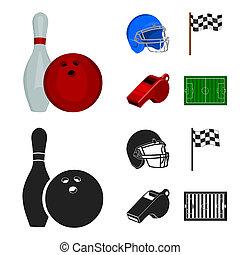 사발, 와..., 볼링 핀, 치고는, 볼링, 보호하는 것, 헬멧, 치고는, 야구를 하는, checkbox, 레퍼리, 휘파람, 치고는, 마차로 나르다, 또는, referee., 스포츠, 세트, 수집, 아이콘, 에서, 만화, 스타일, 상징, 주식 일러스트, web.