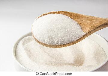 사발, 채우는, 설탕