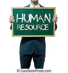 사업가, 보유, 칠판, 통하고 있는, 그만큼, 배경, 인간, 자원
