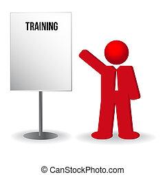 사업가, 사람, 와, a, 플립 카드, chart., 훈련, 일