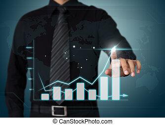 사업가, 손으로 가리키는 것, 성장 도표