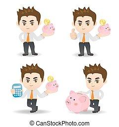 사업가, 와, 돼지 저금통