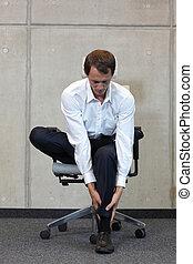 사업가, 운동시키는 것, 통하고 있는, 의자