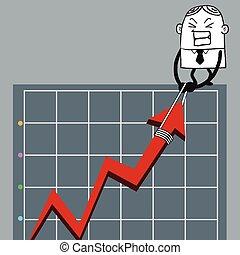 사업가, 위로의, 그래프