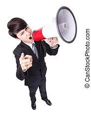 사업가, 이목을 끌게 하는, loudly, 에서, a, 메가폰