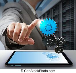사업가, 접촉, 통하고 있는, 장치, 가령...와 같은, 컴퓨터, 해결, 개념