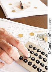 사업가, 함, 계정, 통하고 있는, 사무실, 와, 돈, 와..., 계산기