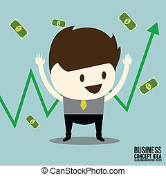사업가, 행복하다, 와, 재고 무역, 그래프, 와..., 달러