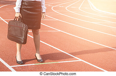 사업, 경쟁, 개념, 통하고 있는, track., 실업가, 서 있는, 대위에, 준비하다, 치고는, 출발, business.