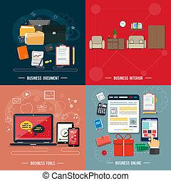사업 공구, 내부, 온라인의, 문서