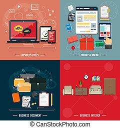 사업 공구, interier, 온라인의, 문서
