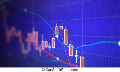 사업, 그래프, 도표, 의, 증권 거래소