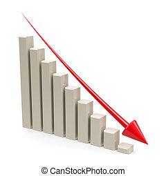 사업, 그래프, 아래로의