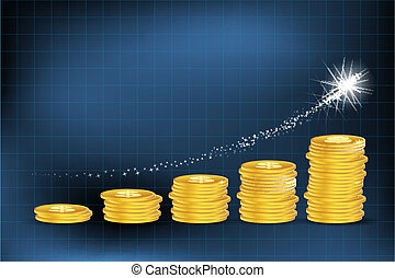 사업, 그래프, 와, 달러, 은 화폐로 주조한다