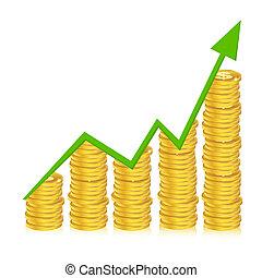 사업, 그래프, 와, 은 화폐로 주조한다