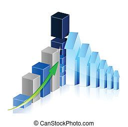 사업, 그래프, 와, 화살, 전시, 이익