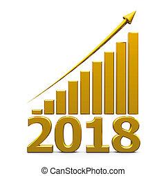 사업, 그래프, 위로의, 와, 2018