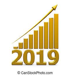 사업, 그래프, 위로의, 와, 2019