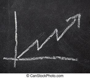 사업, 그래프, 재정, 칠판