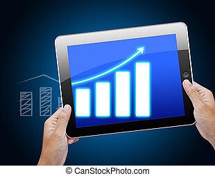 사업, 그래프, 통하고 있는, 정제