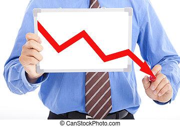 사업, 그래프, whiteboard, 아래로의, 그림, 빨강, 남자