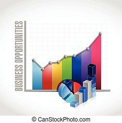 사업, 기회, 그래프, 삽화