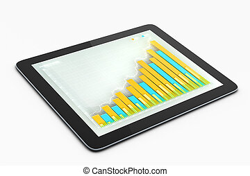 사업, 도표, 통하고 있는, 정제, 스크린
