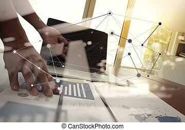사업 문서, 통하고 있는, 사무실, 휴대용 컴퓨터에테이블, 와..., 남자, 일, 에서, 그만큼, 배경