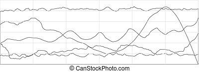 사업, 바람 빠진 타이어, 그래프, 경향, 도표, scheme.