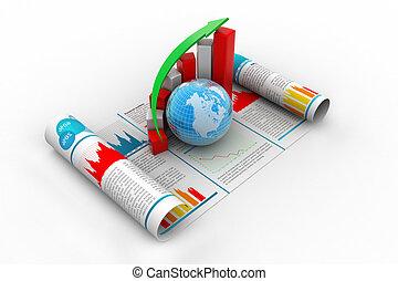 사업 성장, 그래프, 와..., 지구