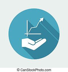 사업 성장, 그래프, -, minimale, 바람 빠진 타이어, 아이콘