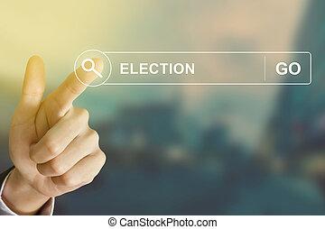 사업, 손, 누름, 선거, 단추, 통하고 있는, 검색, 툴바