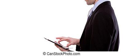 사업, 스크린, 나이 적은 편의, 향하여, 접촉, 배경, 초상, 장치, 을 사용하여, 백색, 남자