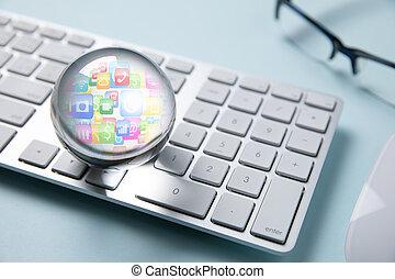 사업, 아이콘, 에서, 수정 구슬, 백색 위에서, 컴퓨터 키보드