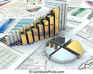 사업, concept., 그래프, 와..., charts.