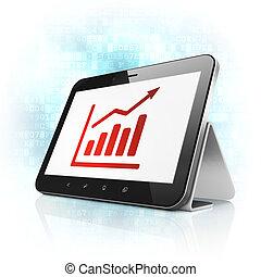 사업, concept:, 성장, 그래프, 통하고 있는, 알약 pc, 컴퓨터
