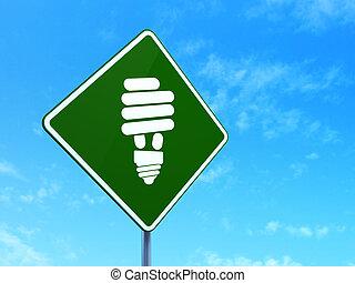 사업, concept:, 에너지, 저금, 램프, 통하고 있는, 도로 표지, 배경