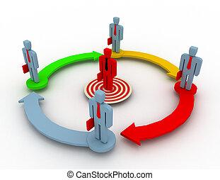 사업, network., 그룹, 지도자