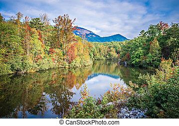 사우스 캐롤라이나, 가을, 해돋이, 조경술을 써서 녹화하다, 테이블, 바위, 낙엽, 반영
