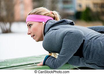 사지, 여자, 겨울, 그녀, 뻗는 것, 운동회, 운동