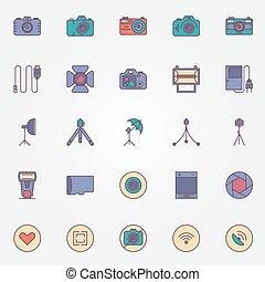 사진술, 다채로운, 아이콘, 세트