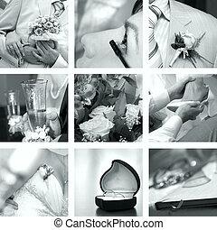 사진, 백색, 세트, 검정, 결혼식