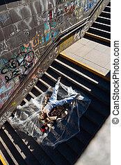 사진, 정상, 지하철, 모델, 층계, 있는 것, 보이는 상태