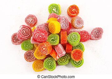 사탕, 백색 배경, 고립된, 다채로운
