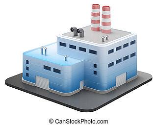 산업 건물, 백색 위에서, 3차원, render